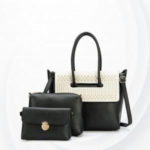 Patchwork Magnetic Closure Handbags Set - Black