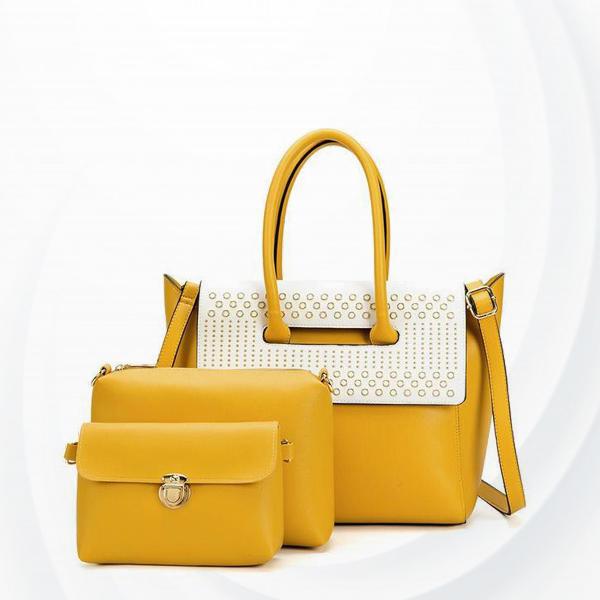 Patchwork Magnetic Closure Handbags Set - Yellow