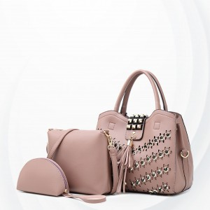 Rivets Decorated Luxury Designers Handbags Set - Pink