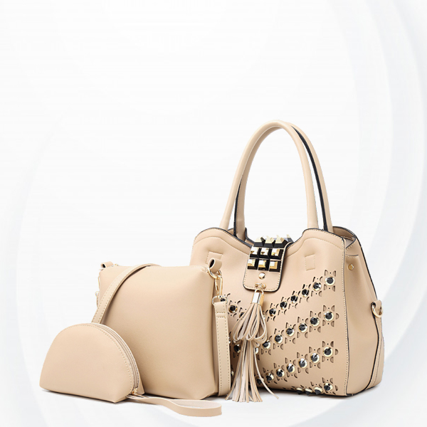 Rivets Decorated Luxury Designers Handbags Set - Apricot