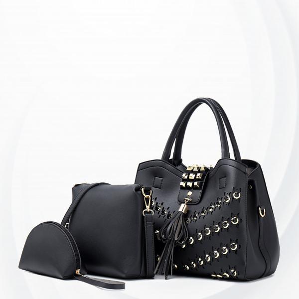 Rivets Decorated Luxury Designers Handbags Set - Black