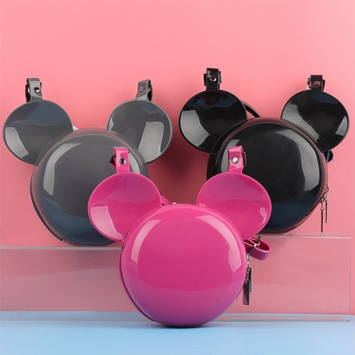 Micky Shaped PVC Solid Messenger Bags - Hot Pink