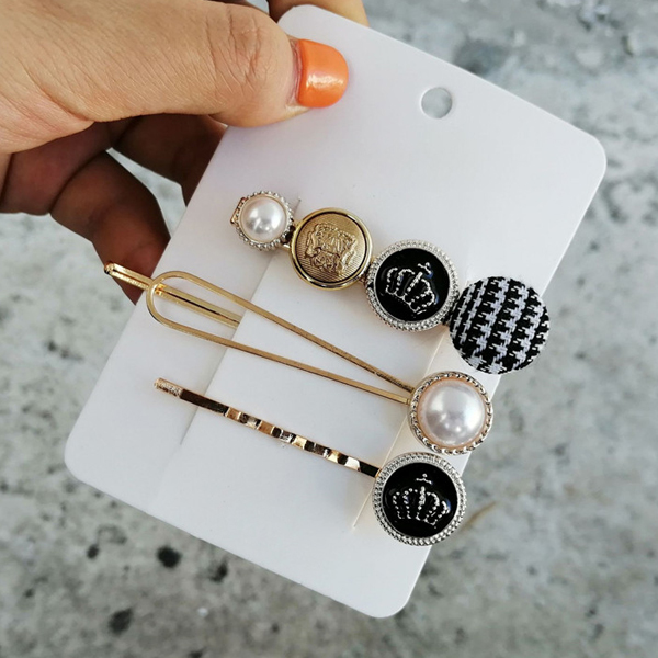 Three Pieces Crown Pearl Hair Pins Set