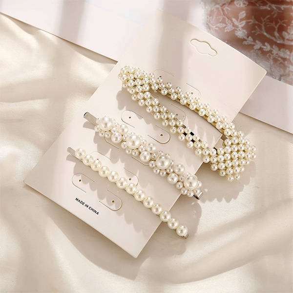 Pearl Decorative Three Pieces Hair Clips Set