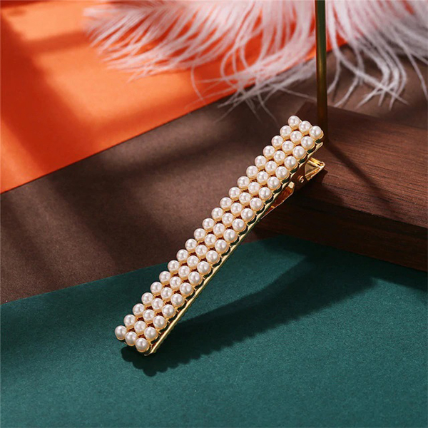 Square Pearls Patched Golden Hair Clips