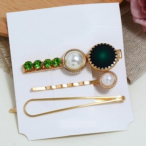Three Pieces Crystal Vintage Hair Clips - Green