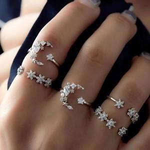5Pcs Star Moon Crystal Open Ring Set Silver