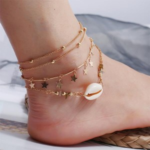 Multi Layers Gold Plated Colorful Beads Anklets - Golden