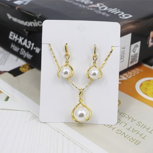Shiny Pearl Gold-plated Wedding Wear Jewellery Set - Golden