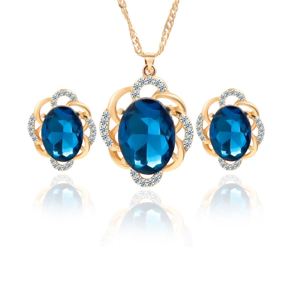 Blue Rhinestone Flower Pendant Necklace And Earrings