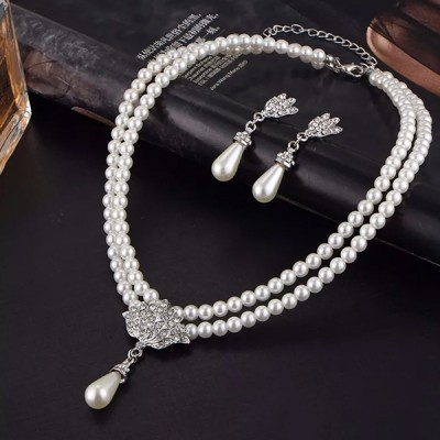 White Pearl Decorated Wedding Jewellery Set