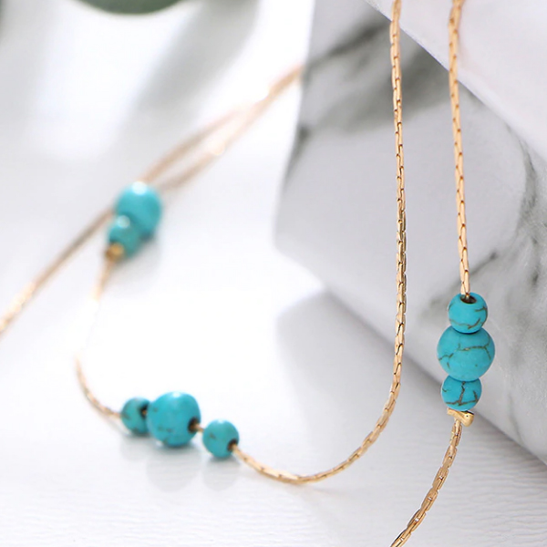 Beads Decorated Chain Jewellery Set - Gold Plated