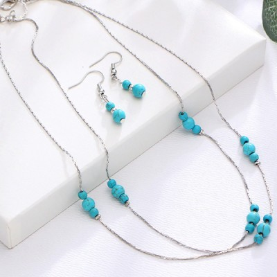 Beads Decorated Chain Jewellery Set - Silver Plated