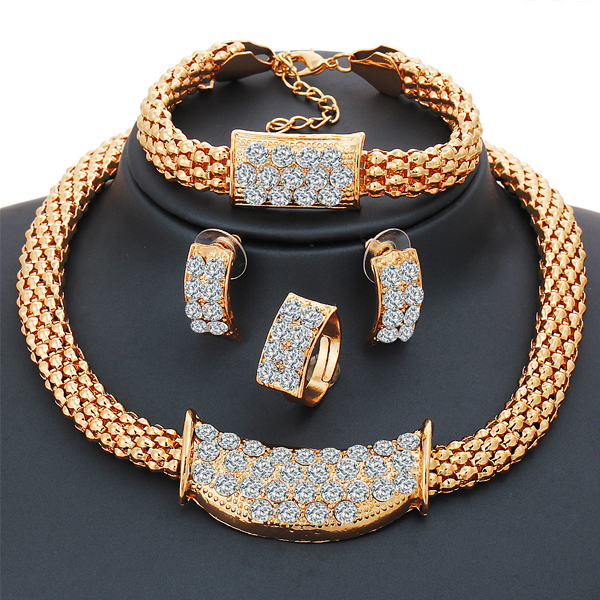 Gold Plated Diamond Complete Jewelry Set
