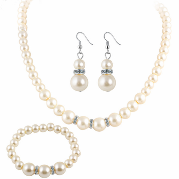 Silver Imitation Pearl Necklace Earrings Bracelet Set