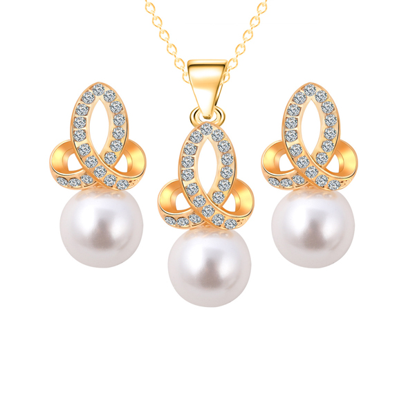 Pearl Hanging Crystal Gold Plated Jewellery Set