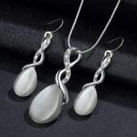 Opal Rhinestone Crystal Decorated Jewellery Set - Silver