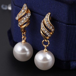 Gold Pearl Necklace Earrings Bridal Fashion Jewelry Set