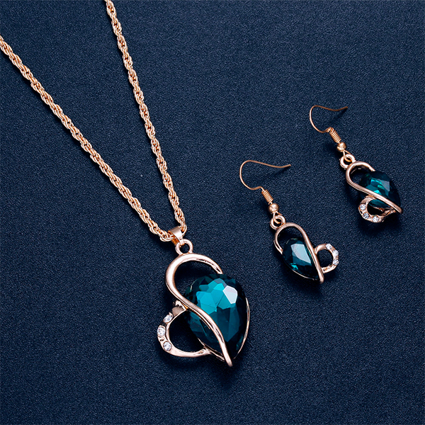 Blue Crystal Heart Shaped Gold Plated Jewellery Set