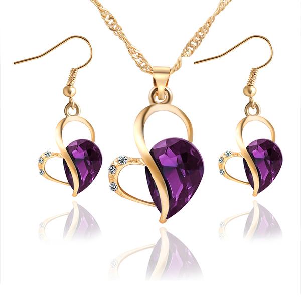 Purple Crystal Heart Shaped Gold Plated Jewellery Set