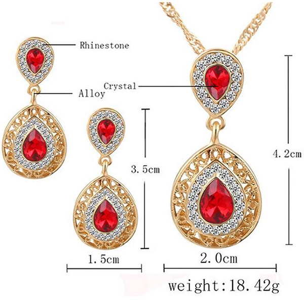 Red Color Crystal Chain Necklace Earrings Jewelry Set
