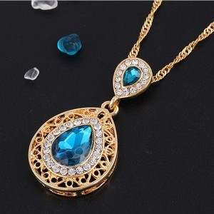 Blue Color Crystal Chain Necklace Earrings Jewelry Set