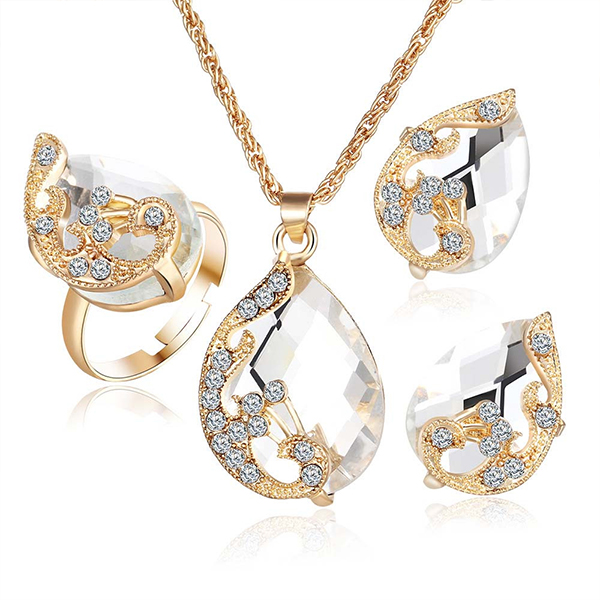 Gold With White Color Jewellery Set Necklace Earrings Ring