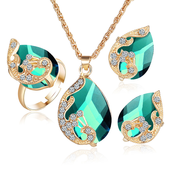 Gold With Green Color Jewellery Set Necklace Earrings Ring