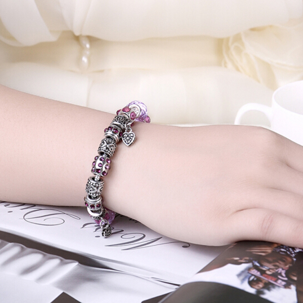 Women Fashion pandora bracelet Heart Shaped Purple Color Latest Design