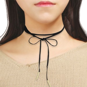 Black Bohemian Lace Choker Knot Necklace
