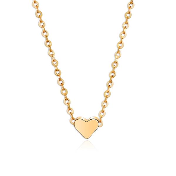 Tiny Heart Pendant Choker Chain Necklace Golden