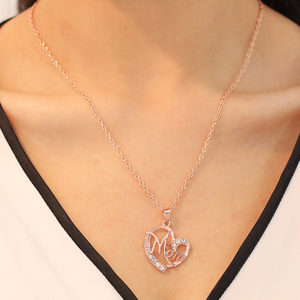 Cute Mom Gold Plated Crystal Gifts Necklace