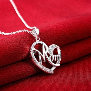 Mom Crystal Chain Silver Plated Necklace