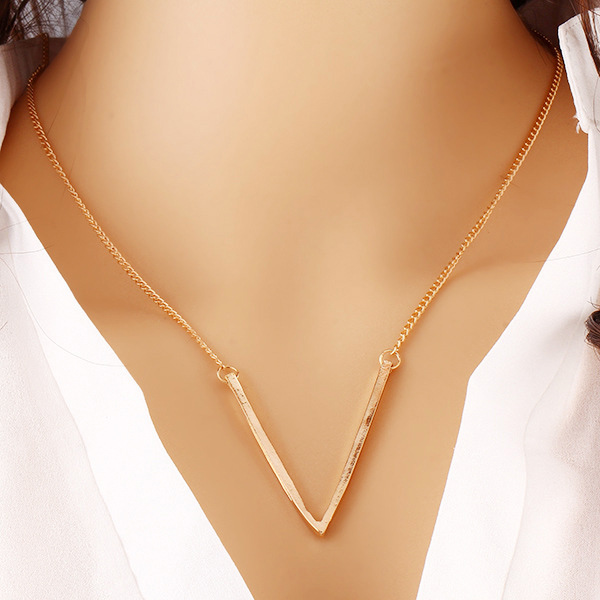 Enchanting V Shaped Gold Plated Pendant For Women