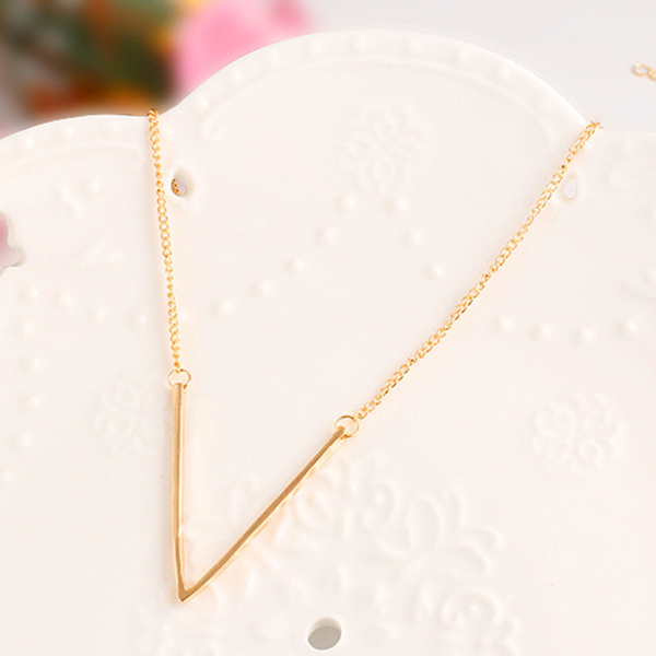 Enchanting V Shaped Gold Plated Pendant For Women