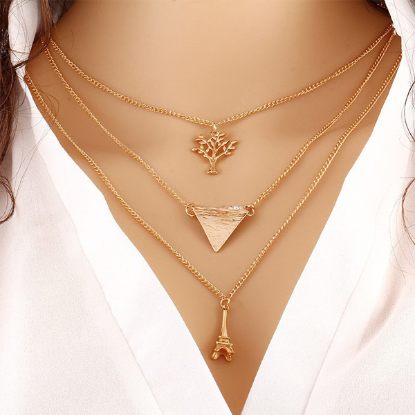Gold Plated Eiffel Chain Pendant With Leaf And Triangle