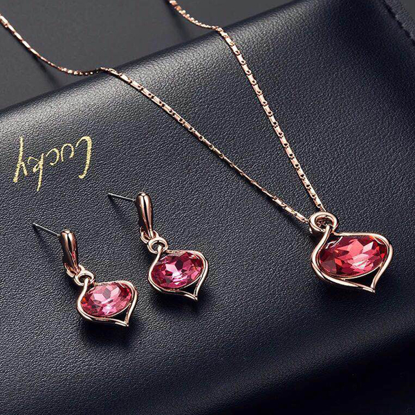 Crystal Gold Plated Party Wear Jewellery Sets - Pink