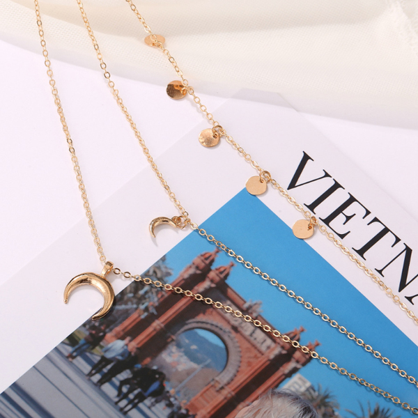 Gold Plated Three Layered Moon Coin Chain Necklace