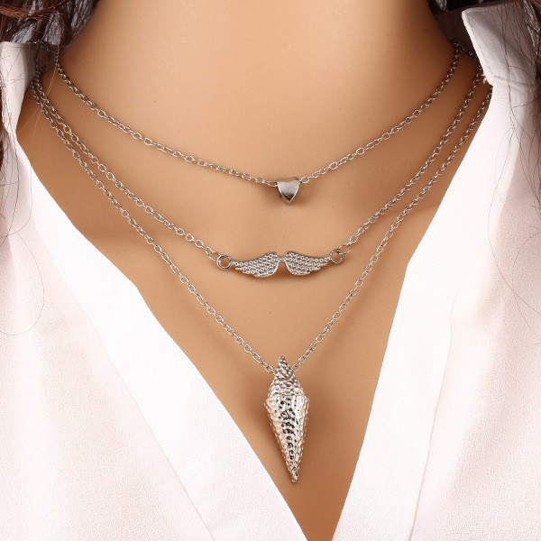 Triple Layered Silver Plated Heart And Mustache Pendant