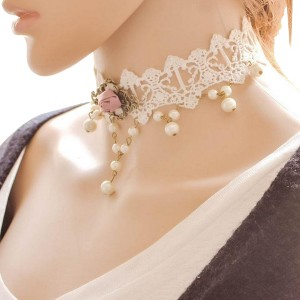 Handmade Elegant Lace Pearl Party Necklace For Women