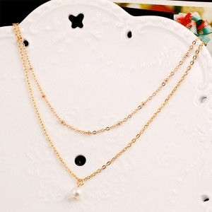 Luxurious Double Layered Chain Jewel Pendant For Women