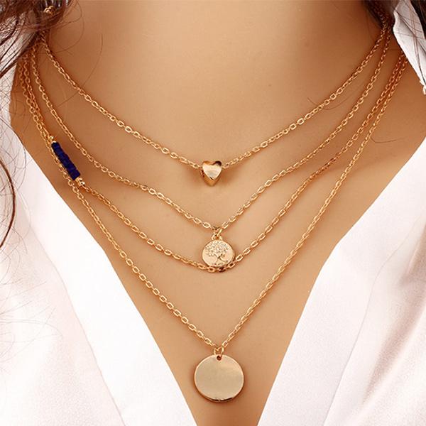 Elegant Multi Layered Gold Plated Pendant For Women