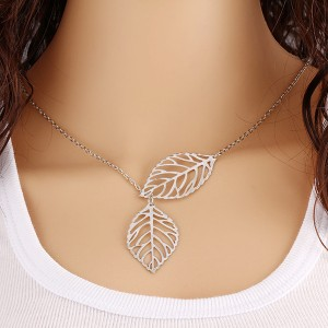 Attractive Silver Plated Leaf Chain Pendant For Women