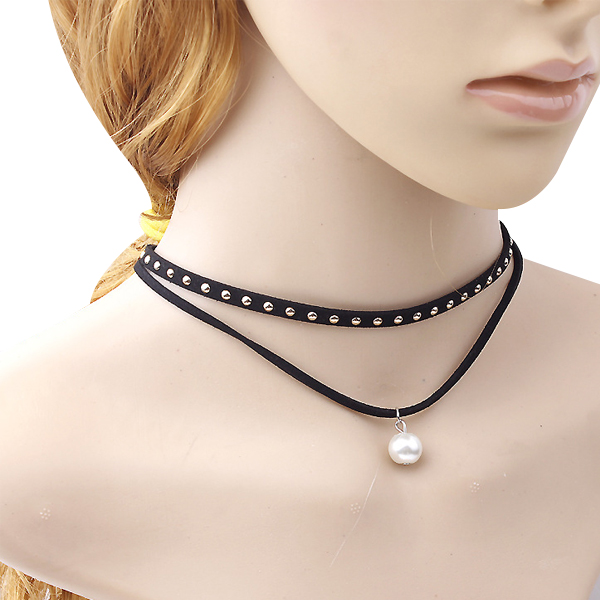 Women Punk Gothic Long Black Velvet PU Leather Chain Necklace