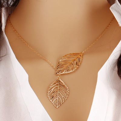 Attractive Golden Plated Leaf Chain Pendant For Women