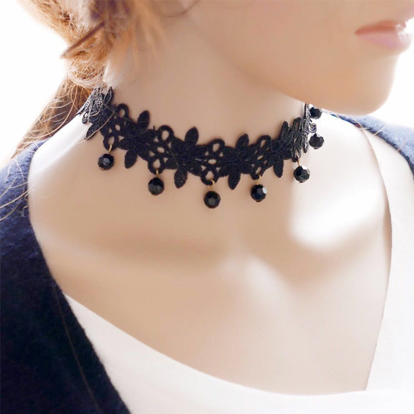 Vintage Style Black Lace Choker Necklace Women Jewellery