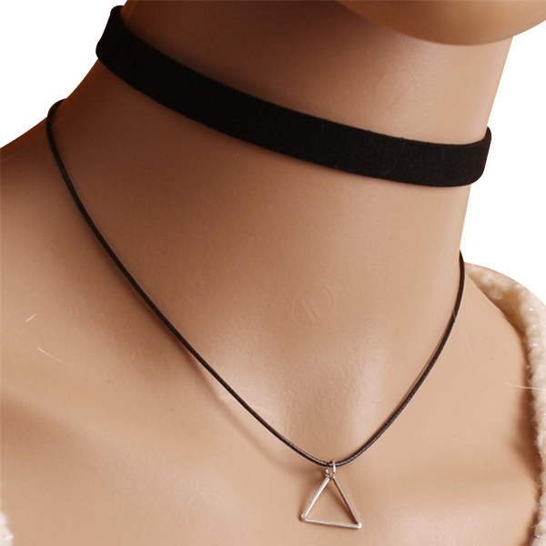 Woman Chokers Necklaces Black Band Triangle Pendant