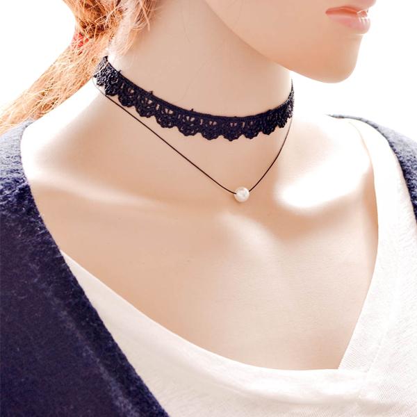 Ladies Multi Necklace Gem Pendant With Lace 2017