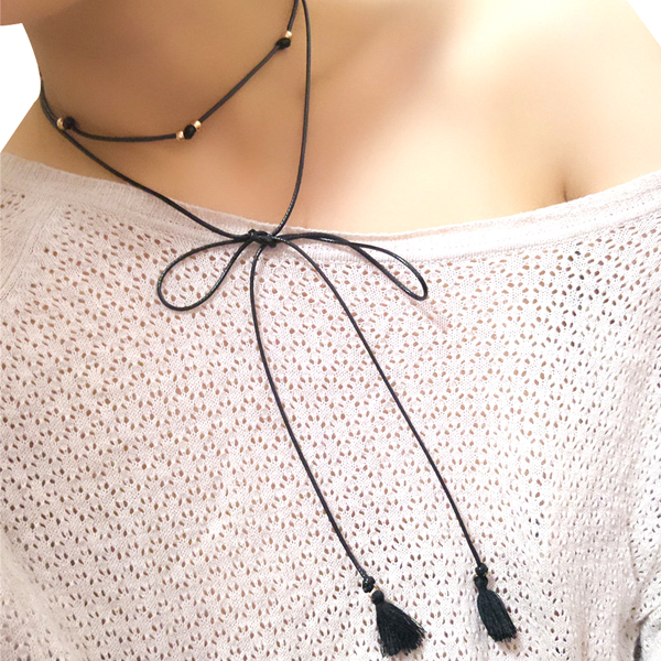 Long Black Leather Rope Choker Collar Necklace Jewellery