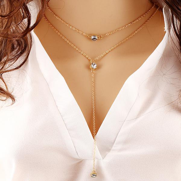 Double Layered Crystal Chain Pendant For Women
